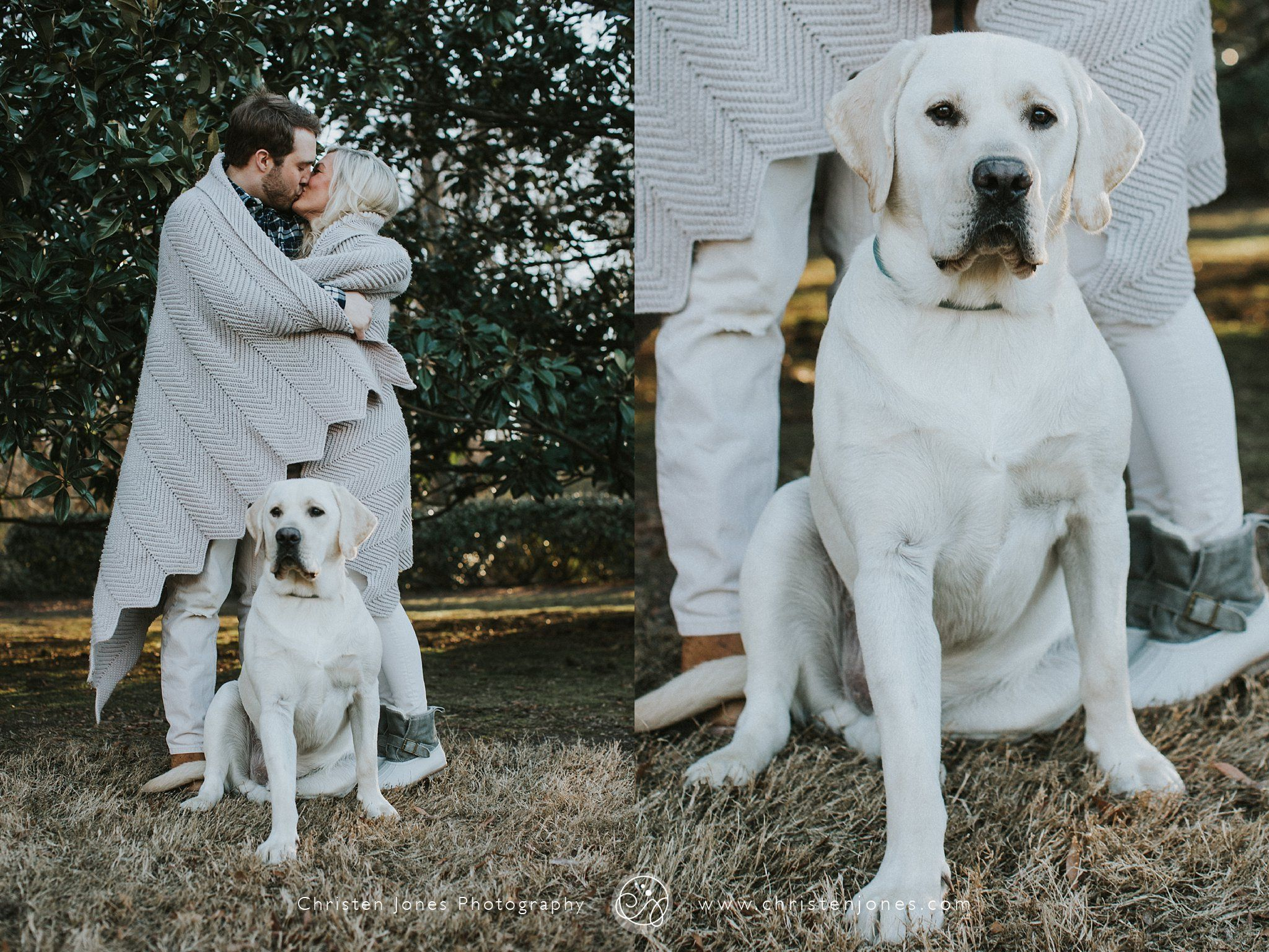 Outdoor Winter Engagement Photo Session || With Dog and Blanket || White || Memphis Engagement Photographer || Christen Jones Photography