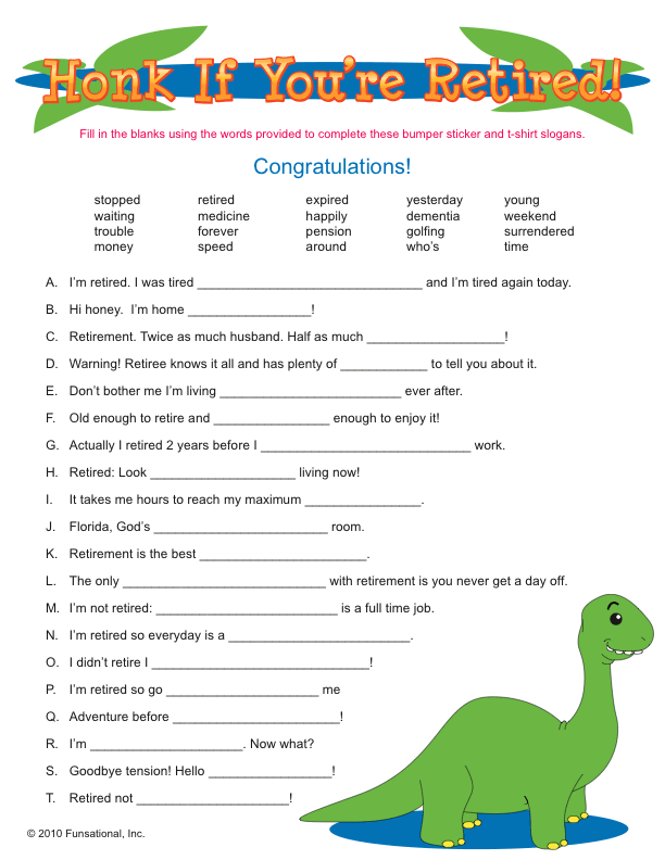 printable retirement party games