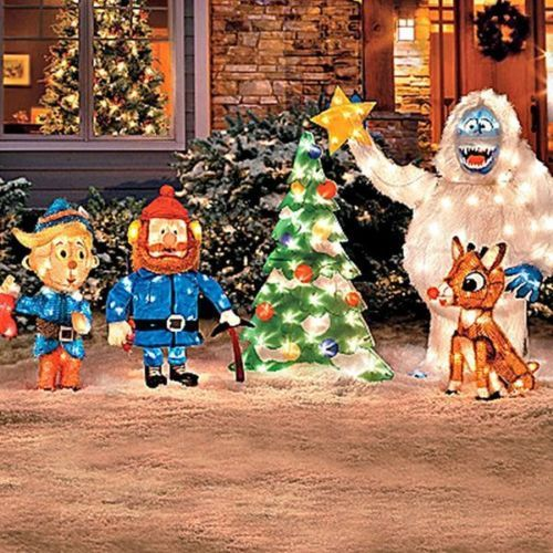 FANTASTIC 5-PC. SET RUDOLPH CHARACTERS TINSEL LIGHTED CHRISTMAS YARD ...