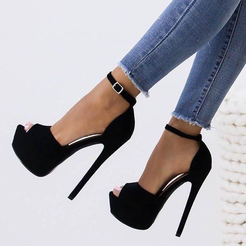 Line Style Buckle Stiletto Heel Platform Peep Toe 14 5cm Casual