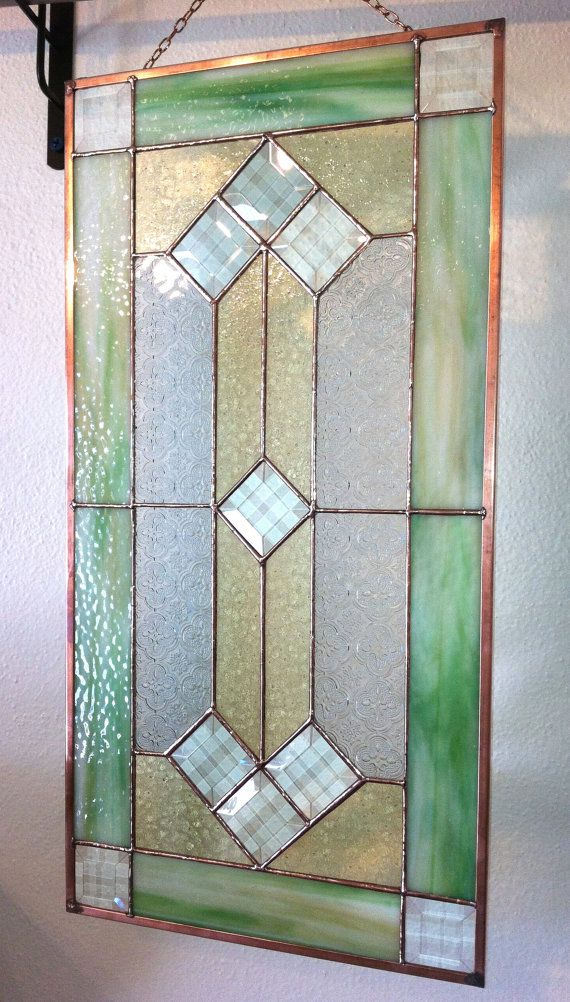 Stained Glass Panel  Pale Green & Gold with by DobbyStainedGlass