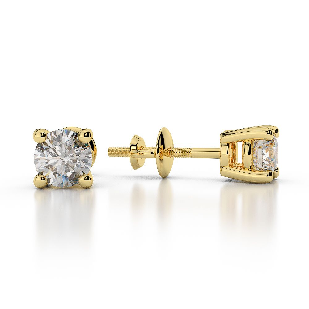 Yellow Gold Round Diamond Stud Earrings Ager 1009 Ag Sons Uk Ltd