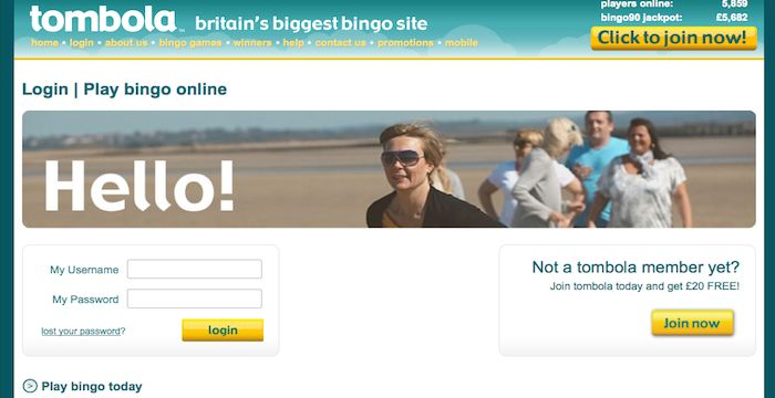 Tombola Login Tombola Co Uk Online Bingo Online Login