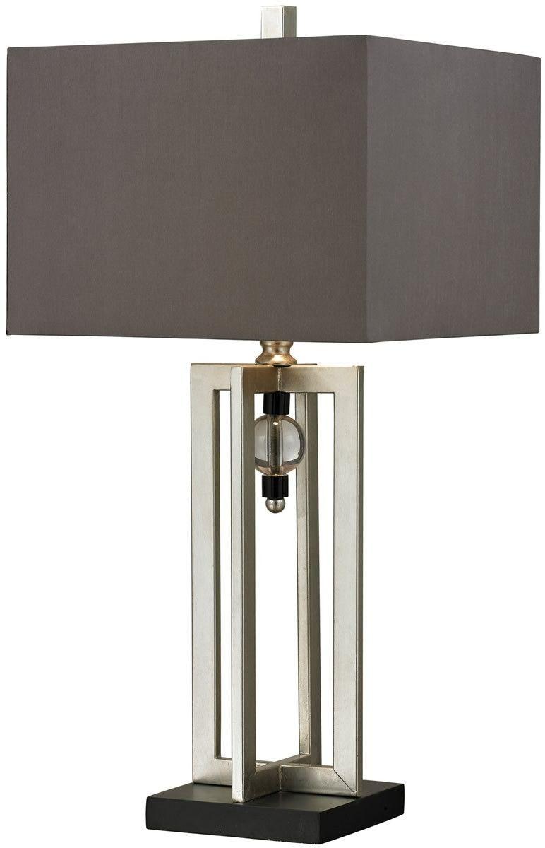 1 Light 3 Way Table Lamp Silver Leaf Black