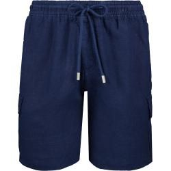 Photo of Men's Ready to Wear – Solid Linen Bermuda Shorts with Cargo Pockets – Bermuda – Baie – Blue – Xs