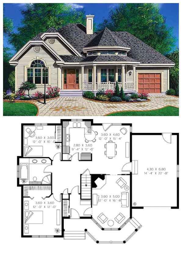 Victorian Style House Plan 65094 With 2 Bed 1 Bath 1 Car Garage House Remodeling Plans Victorian House Plans New House Plans