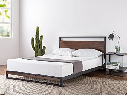 Zinus Ironline Metal And Wood Platform Bed With Headboard Box Spring Optional Wood Slat Sup Contemporary Platform Bed Headboards For Beds Wood Platform Bed