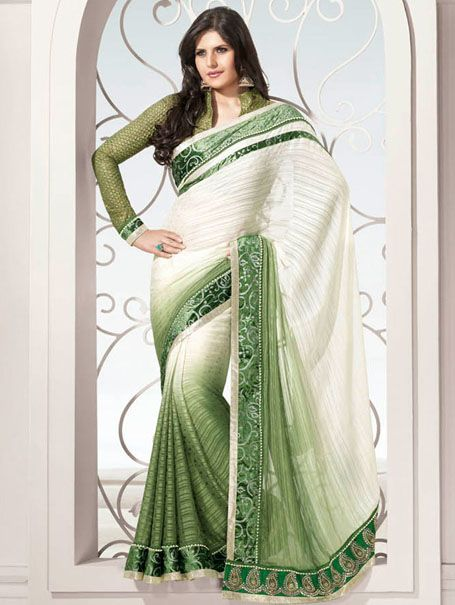 Double Shaded Saree With Velvet Border