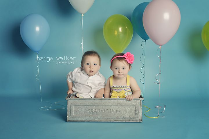 boy girl twins 1 year shoot twins first birthday studio twin