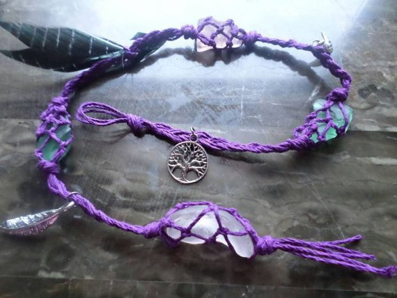 Purple witches ladder with sea glass  Witchcraft, Wicca
