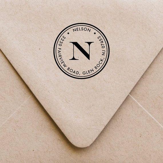 Personalized Monogram Stamp Self Inking Address Stamp Wood Address Stamp Custom Monogram Address Stamp Return Address Stamp