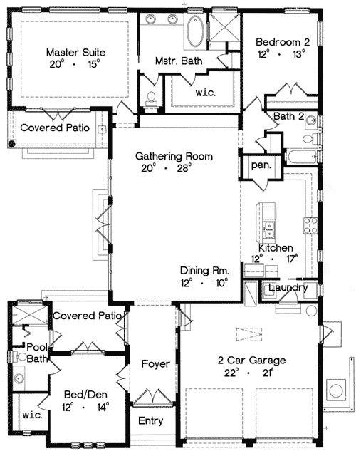 Plan 4213mj Mediterranean Home Plan With Casita Mediterranean House Plans House Plans Courtyard House Plans