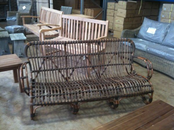 colonial bamboo cane bench