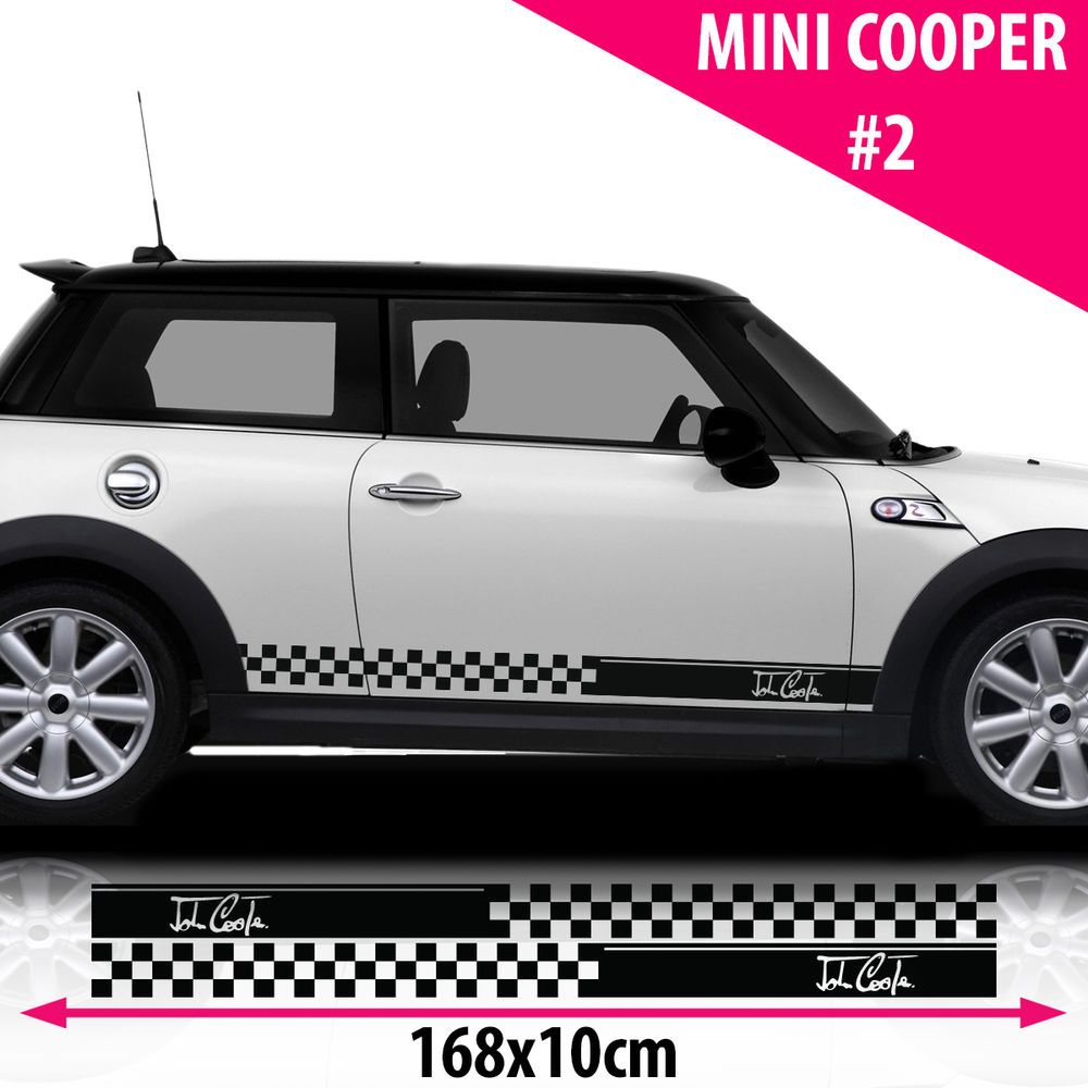 Mini Cooper Full Length Side Accent Stripes Decals 2008 2009 2010 2011 Pro Motor