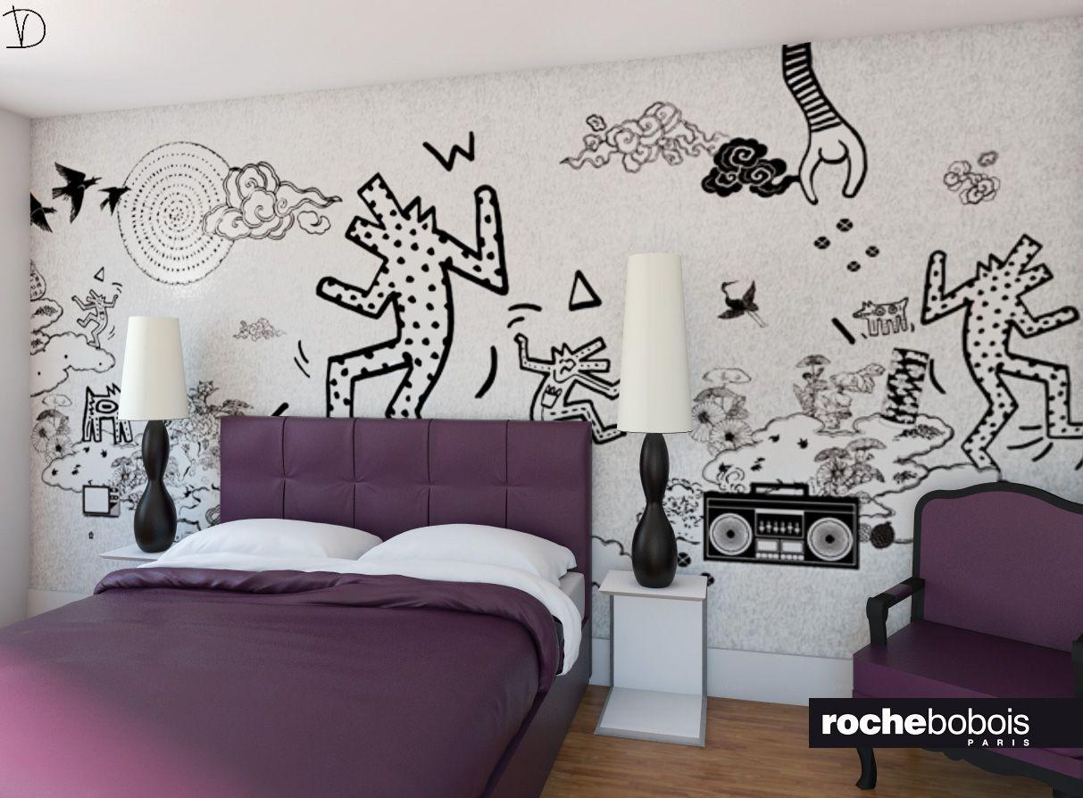 Camera da letto con carta da parati di keith haring versione in bordeaux render per - Camera da letto con carta da parati ...