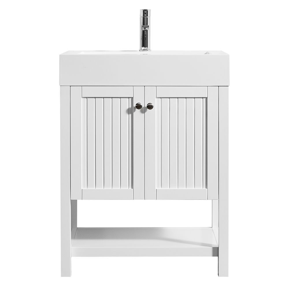 Pavia 28 Inch Single Vanity In White With Acrylic Under Mount Sink Without Mirror Single Bathroom Vanity Vanity Vanity Set
