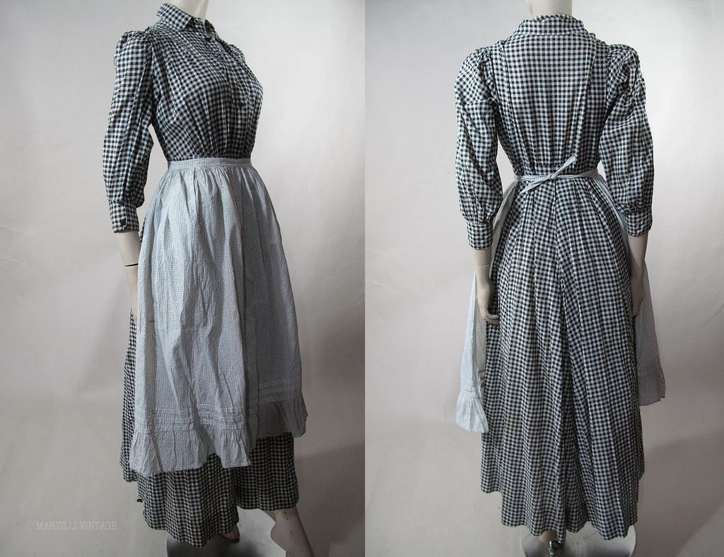 Day Dress Wrapper With Calico Apron Ca 1890 S Gingham Dress Buttons Close Front And Cuff Victorian Fashion Women Fashion Poor Clothes [ 787 x 1024 Pixel ]