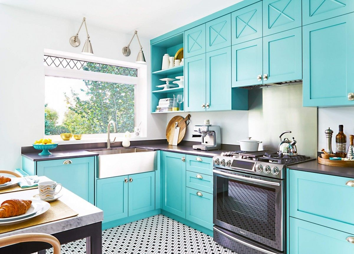 Black And White Kitchen Floor Ideas And Inspiration Hunker In 2020 Turquoise Kitchen Cabinets Teal Kitchen Cabinets Toronto Interior Design