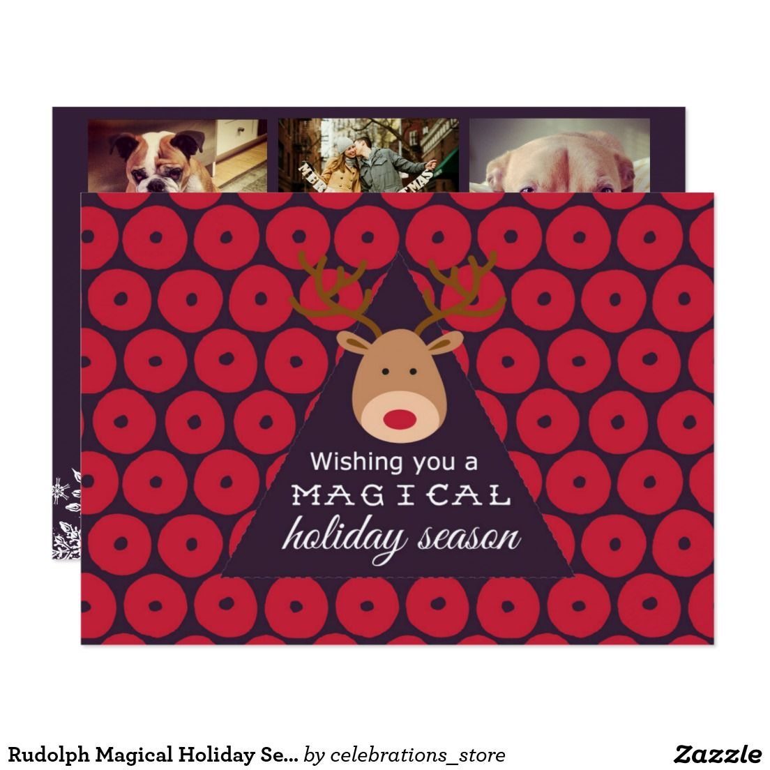 Rudolph Magical Holiday Season Photo Christmas Cards Two Sided Card