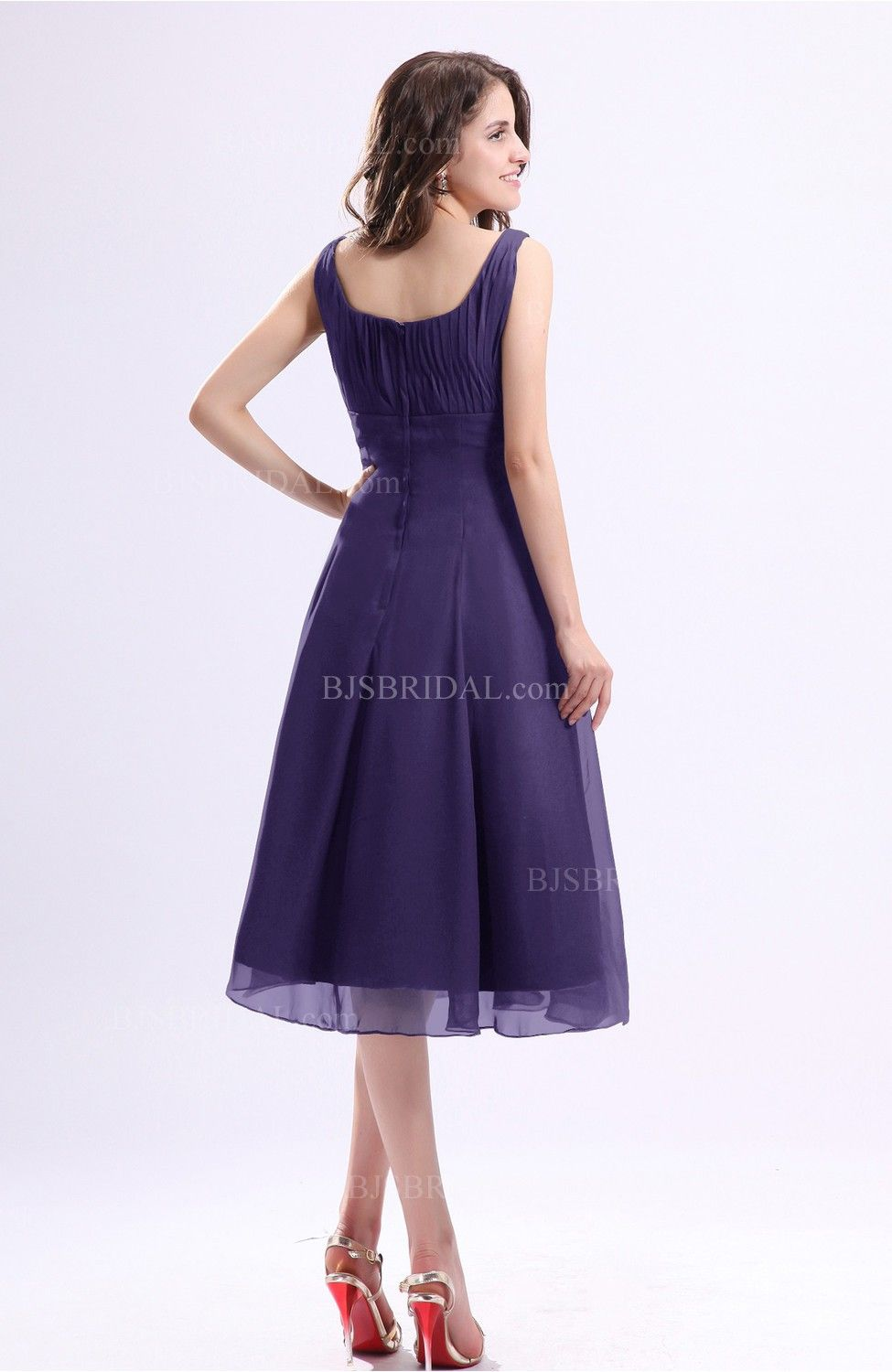 Royal Purple Guest Dress - Simple A-line Square Sleeveless Zip up ...