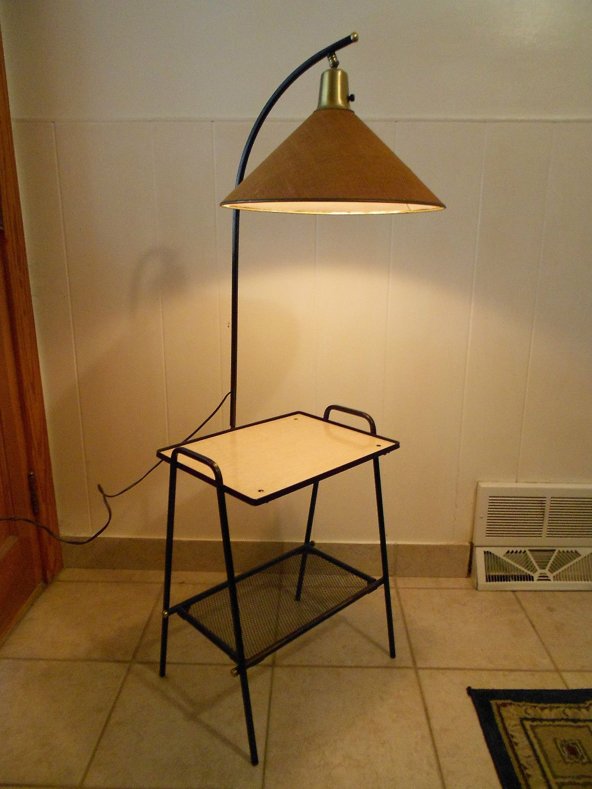 1950s Mid Century Modern Metal Wire Rack Formica Table Lamp
