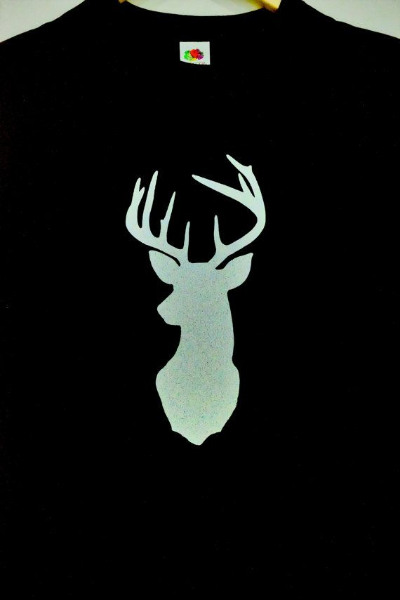 d2bf53b2 Black T-Shirt with Silver Glitter Stag Deer Head with Antlers ...