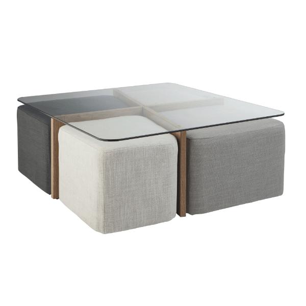 Table basse sahara avec poufs but dim l90 x h35 x l90 - Table basse ronde avec poufs integres ...