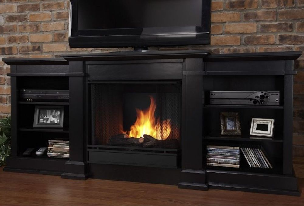 Black TV Stand with Fireplace Heater Entertainment Center ...