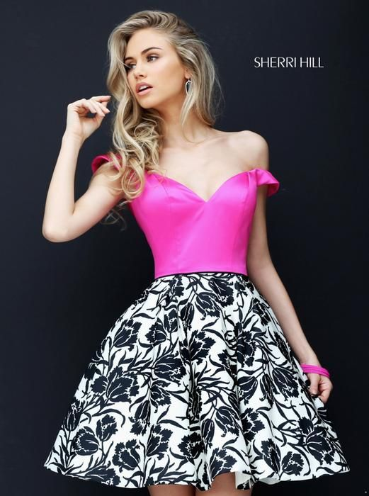 Beautiful fuchsia top and black and white skirt pattern skirt by ...
