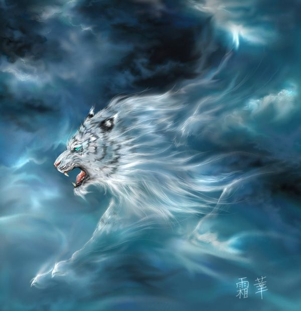 """In the Chinese Mythology  - Byakko is the guardian beast from the West, its shape is that of a tiger  of echo """"Tiger"""" means """"White tiger"""". His element is wind and Thunder, its  color is white and accounted for the fall.  In antiquity it was believed that Tiger was the King of the beasts."""