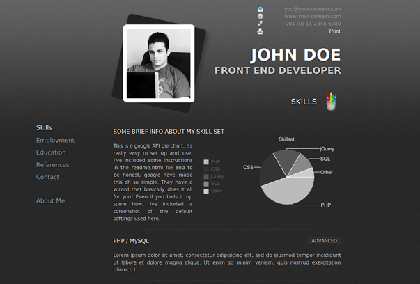 oooh i like the idea of using the google pie chart api for the - Wordpress Resume Template