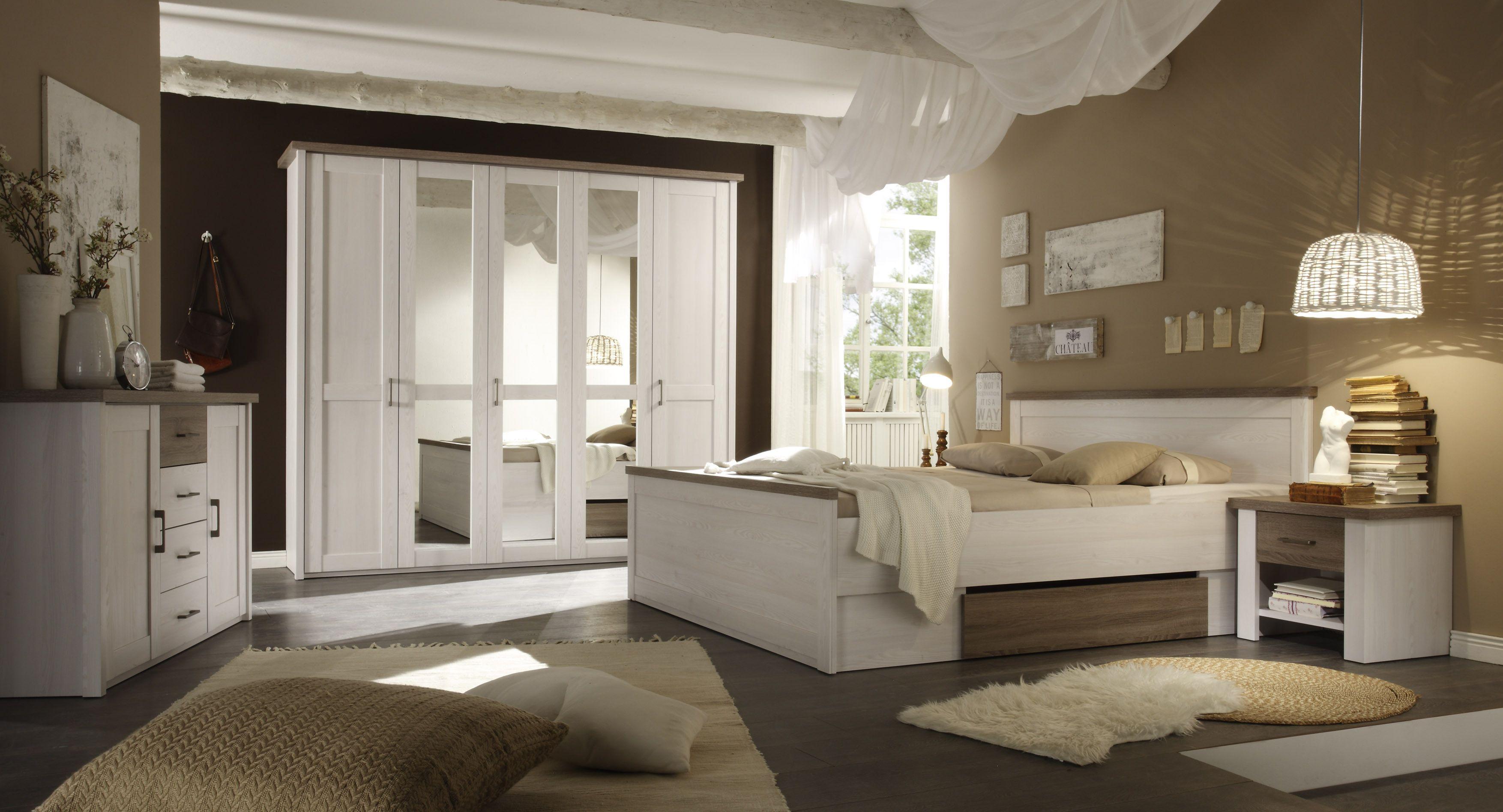 Schlafzimmer Mit Bett 180 X 200 Cm Pinie Weiss/ Trüffel