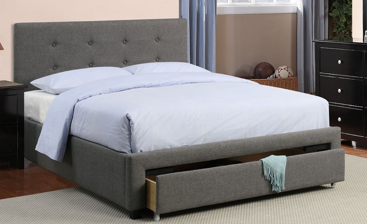 Poundex Slate Linen Queen Size Platform Bed with Storage F9330Q ...