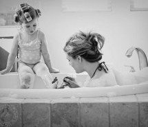 Inspiring picture *-*, black and white, cute, kid, mother and daughter. Resolution: 500x359 px. Find the picture to your taste!