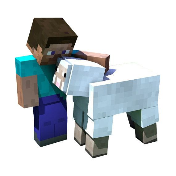 Minecraft Steve And Sheep Vinyl Wall Decal By Wilsongraphics 4 25 Minecraft Steve Minecraft Pictures Minecraft