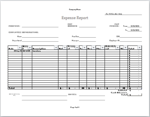 Company Expense Report Template At WordDocumentsCom  Microsoft