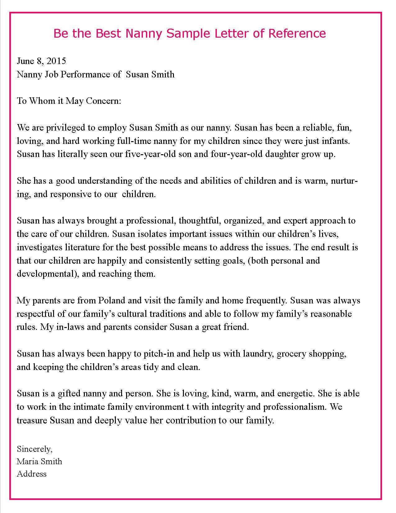 reference letter for child care