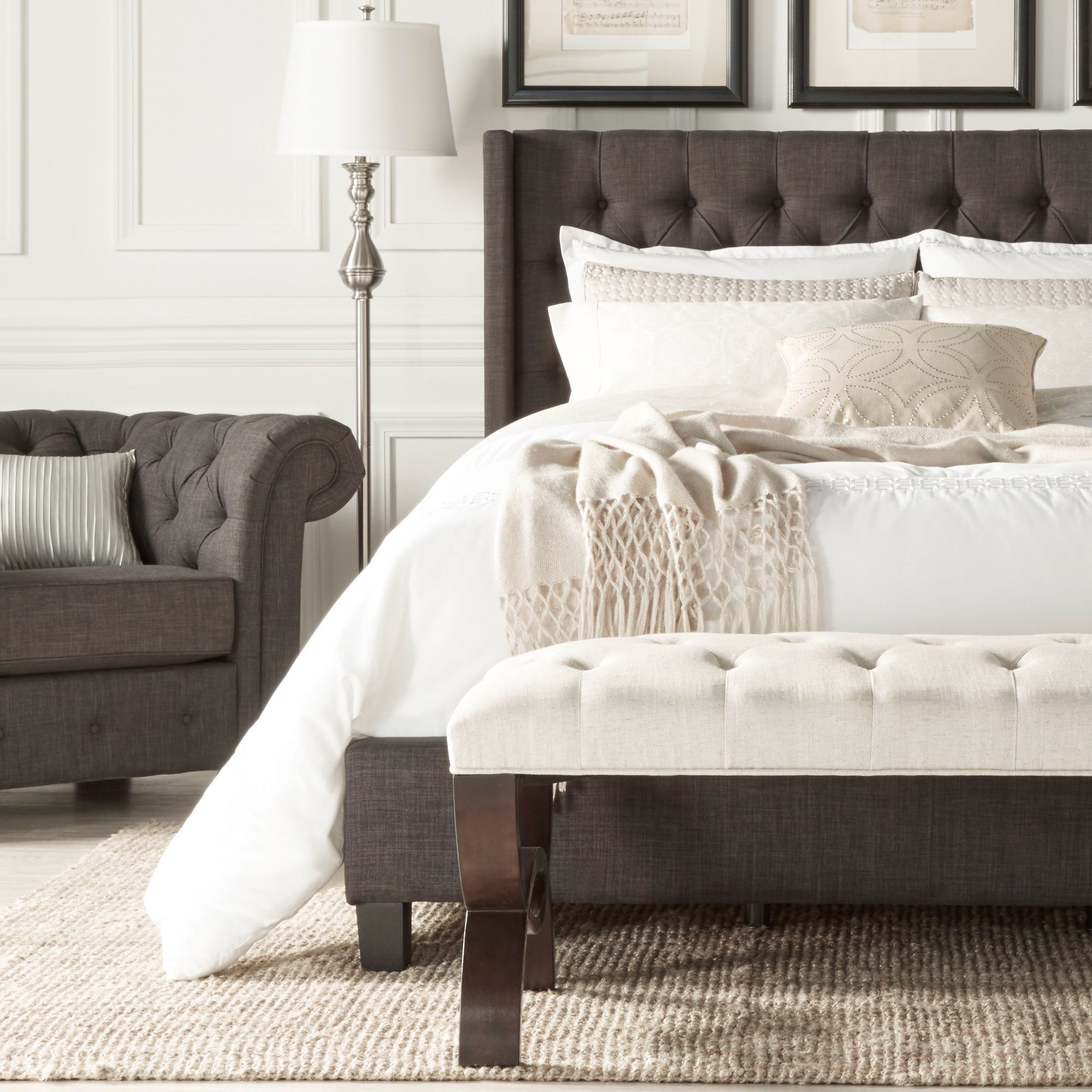 Naples Wingback Button Tufted Upholstered Queen Bed by iNSPIRE Q Artisan by  iNSPIRE Q