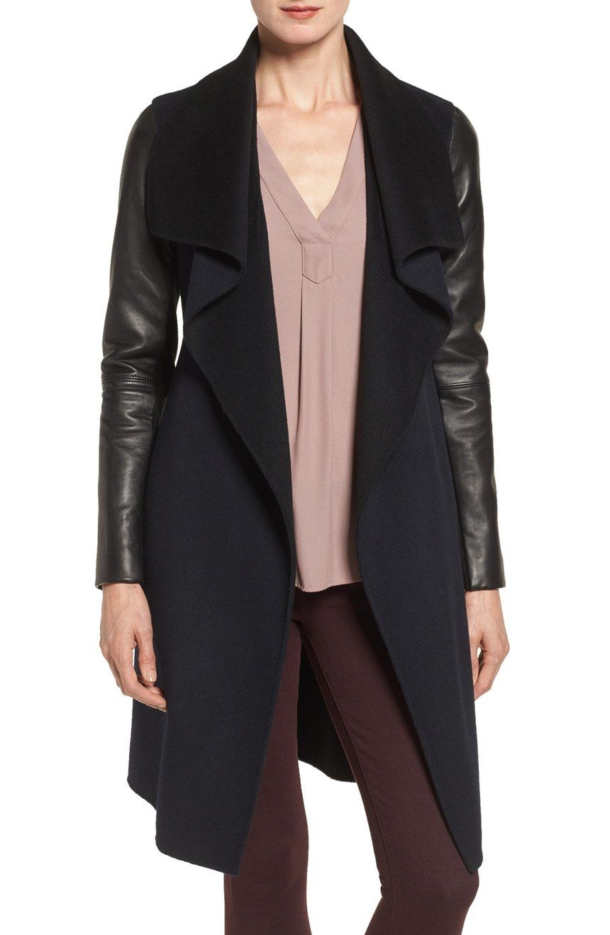 A broad contrast collar and reversible waist belt flaunt the double-faced design of this sophisticated woolen wrap coat. This Nordstrom Anniversary Sale coat will definitely be an essential on cold days.