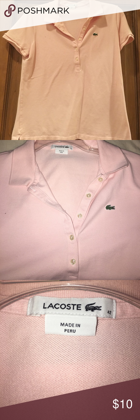 Lacoste light pink polo Ladies size 42 fits med/large Lacoste Tops