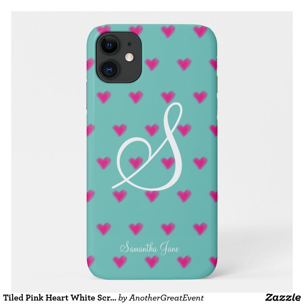 Tiled Pink Heart White Script Teal Background Case-Mate iPhone Case | Zazzle.com