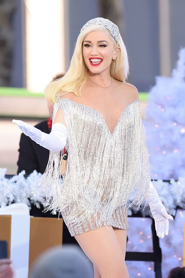 029287685bb Gwen Stefani Sparkles Like An Ice Princess In Mini Dress For ...