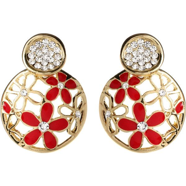 Amrita Singh Austrian Crystal & Red Madeline Drop Earrings ($9.99) ❤ liked on Polyvore featuring jewelry, earrings, drop earrings, amrita singh jewellery, lock jewelry, amrita singh jewelry and red earrings