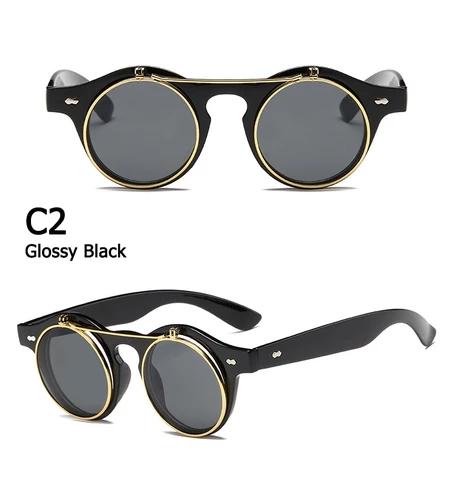 Flip Cover Sunglasses Brand Designer Retro Round Steampunk Steam Punk Fashion Sun Glasses Flip Up Sunglasses Steampunk Sunglasses Retro Sunglasses
