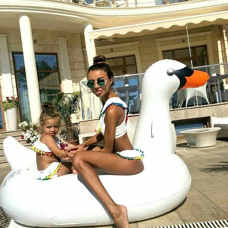 ad35c4eb9ba Mother and daughter matching in white swimsuits | Mother and ...