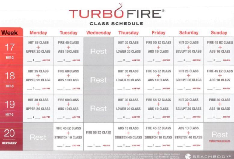 turbo fire weeks 17, 18, 19, 20