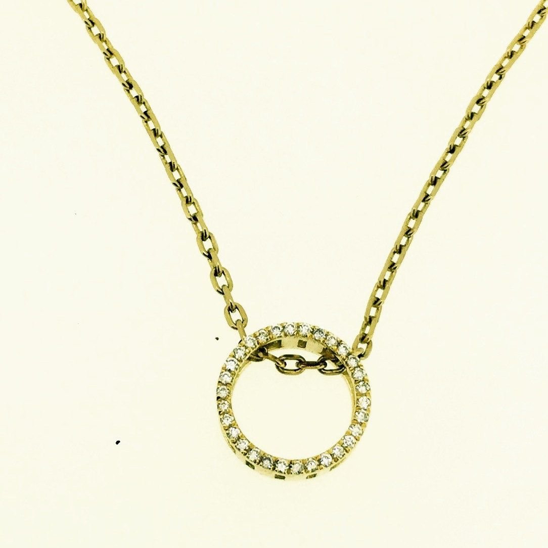 Eternal circle diamond gold pendant necklace tcw kt white