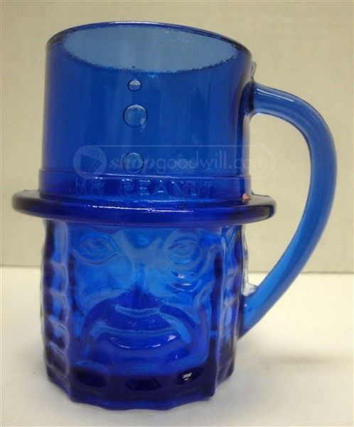 Mr Peanut Cobalt Blue Glass Cup Glass Cup Blue Glass Mr Peanut