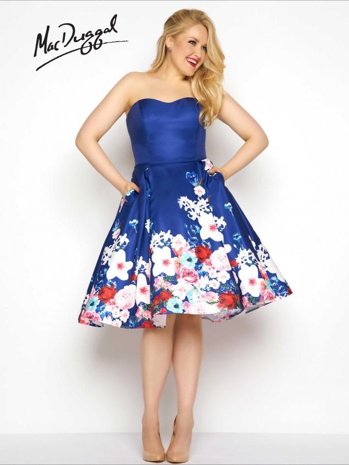 dfcd6f3911a Short Floral Plus Size Prom Dress