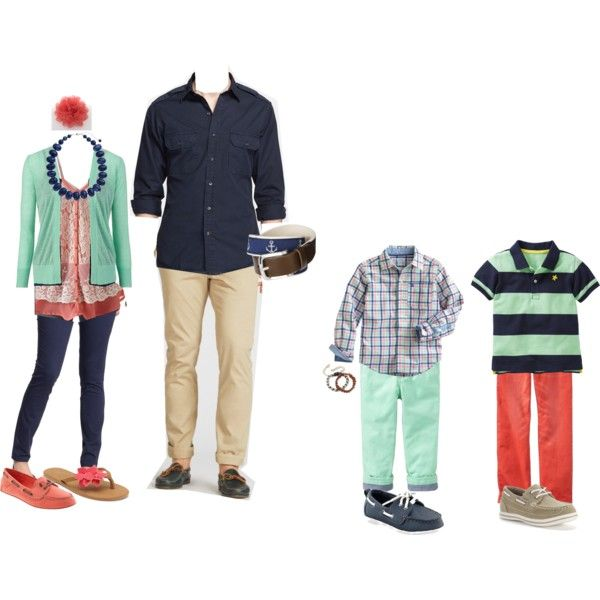 """""""Coral, navy, mint, ivory"""" by karnott08 on Polyvore  My Family outfits?"""